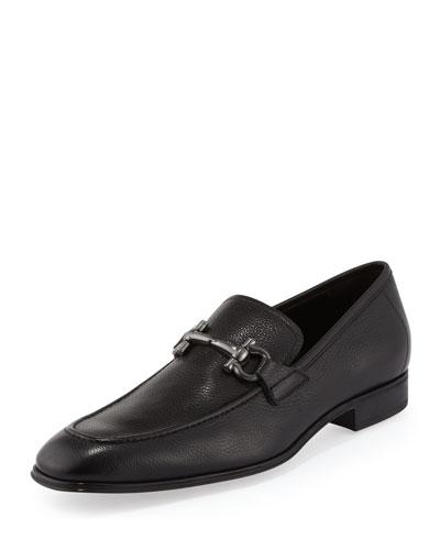 Rigel Pebbled Rubber-Sole Gancini Loafer, Black