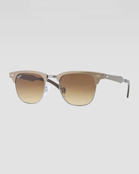 b73e90151fffdd Ray-Ban Clubmaster Aluminum Sunglasses, Bronze Light Brown
