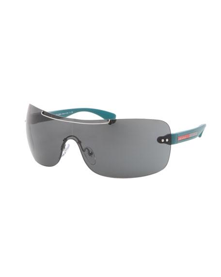 86d9f5025751 ... buy prada rectangular wrap sunglasses gunmetal blue f3612 daebe