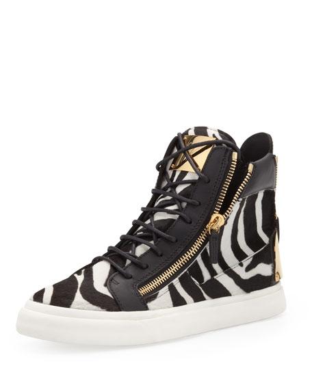 573fb576f18 Giuseppe Zanotti Men's Zebra-Print High-Top Sneaker, Black/White