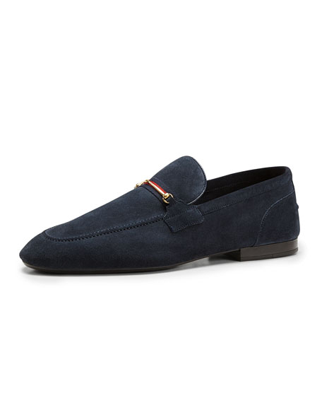 fb51ce9c5 Gucci Suede Thin-Horsebit Loafer, Navy