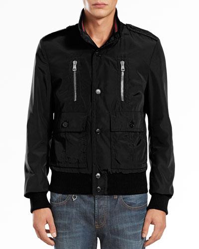 Padded Iconic Bomber Jacket, Black