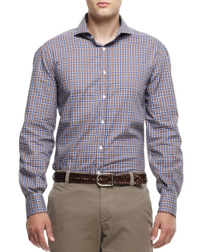 Buttoned Check Shirt, Brown/Navy