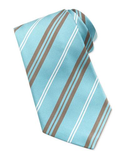 Printed Track-Stripe Tie, Aqua