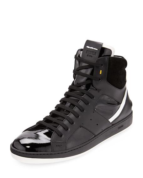 Fendi Black Plimsoll High-Top Sneakers XIA2kWUAx