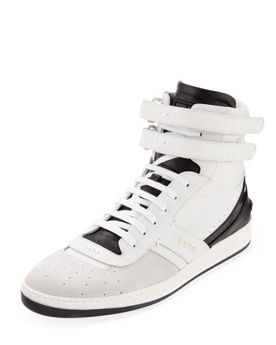 Suede and Leather High-Top Sneaker, White