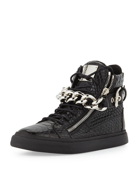 dc981ab4c7cb Giuseppe Zanotti Men s Croc-Embossed Chain High-Top Sneaker
