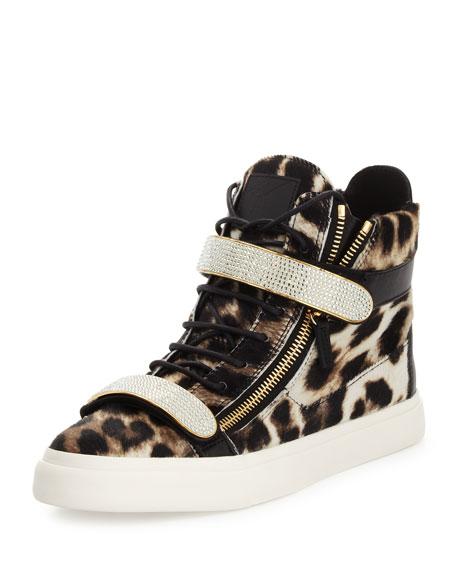 Giuseppe Zanotti Men s Leopard-Print Calf Hair High-Top Sneaker 51671fee8b9