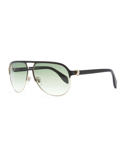 Gold Skull Aviator Sunglasses, Black