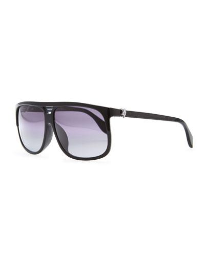 Silver Skull Square Sunglasses, Black