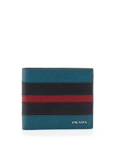 Tricolor Saffiano Leather Wallet, Multi