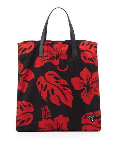 1654126d25 Prada Men's Hibiscus Nylon Tote Bag, Red/Black