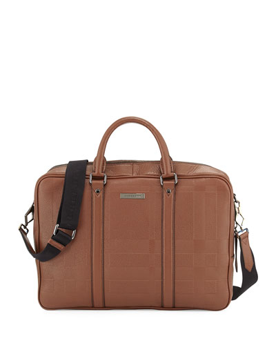 Embossed-Check Leather Briefcase, Brown
