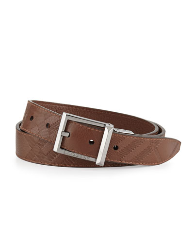 Embossed-Check Leather Belt, Brown