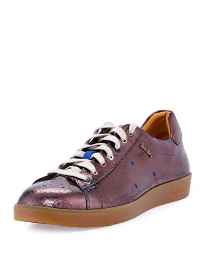 Lepus Metallic Perforated Sneaker, Aubergine