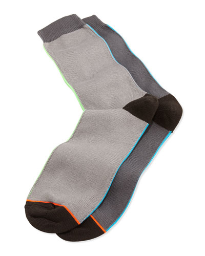 Vertical-Neon-Stripe Socks, Gray