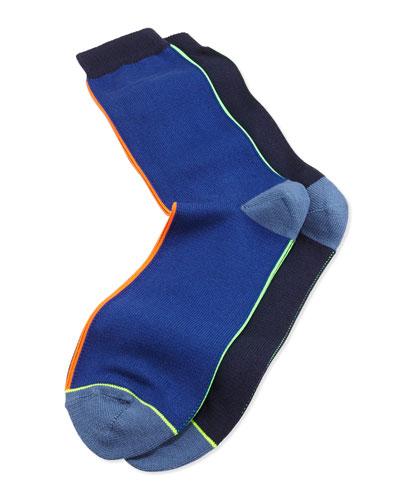 Vertical-Neon-Stripe Socks, Navy