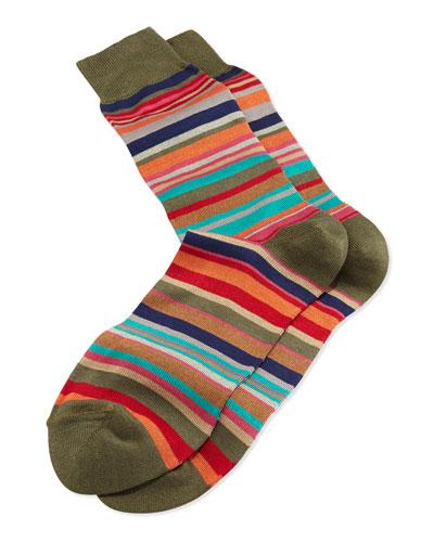 Fancy Stripe Socks, Green
