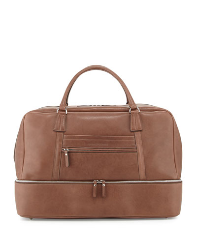 Leather Bottom-Compartment Duffle Bag, Brown