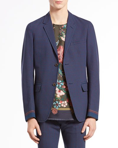 Dot-Print Crepe Two-Button Jacket, Blue