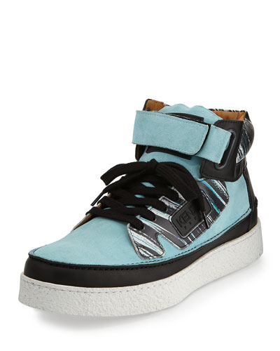 Kenyon Suede & Printed Leather High-Top Sneaker, Blue Multi