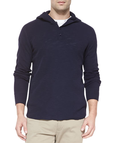 Slub Knit Hooded Henley, Navy