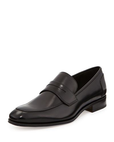 Lionel Leather Penny Loafer, Nero (Black)