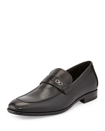 Paro Double-Gancini Leather Loafer, Black