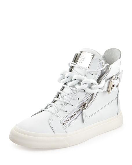 4070eead3c55 Giuseppe Zanotti Men s Chain   Zipper Leather High-Top Sneaker