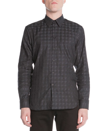 Pyramid-Dome Jacquard Shirt, Black