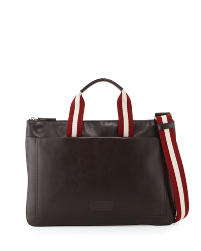 Tigan Men's Thin Calfskin Business Bag, Brown