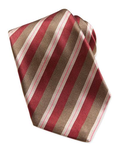 Woven Dark-Stripe Tie, Tan/Red
