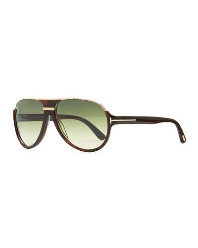 Dimitri Rimless Aviator Sunglasses, Green