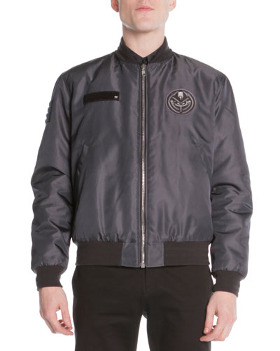 Patch-Detail Bomber Jacket, Dark Gray