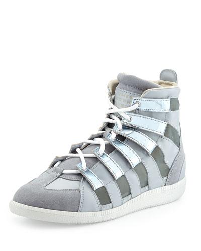 Metallic Mesh High-Top Sneaker, Silver