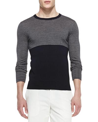 Merino Striped & Solid Crewneck Sweater