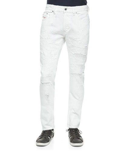 Thavar Distressed Jeans, White