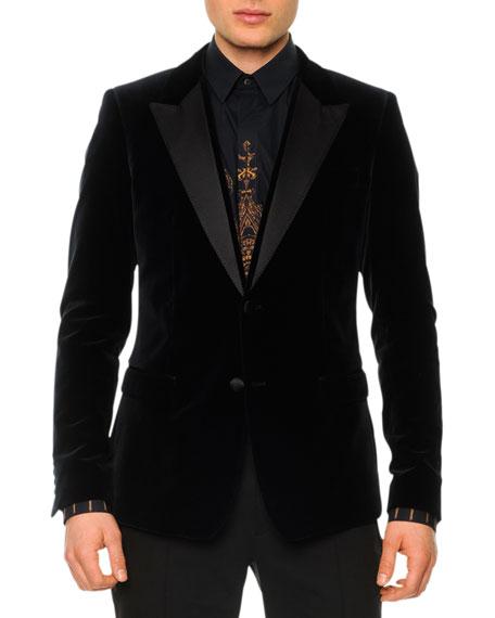 Velvet Evening Jacket with Satin Lapels Navy