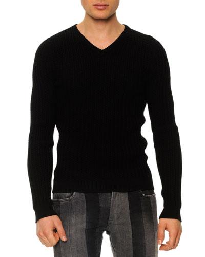 Textured V-Neck Sweater, Black