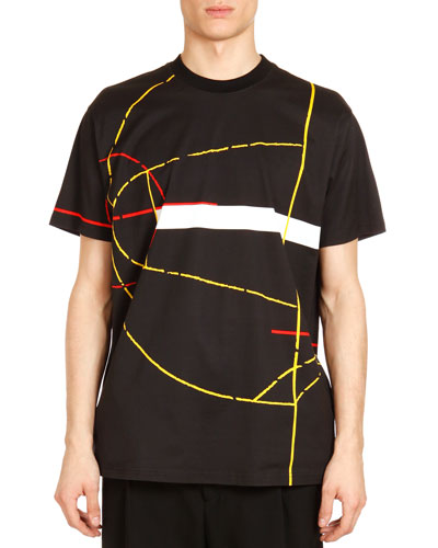 Basketball Court-Print Tee, Black Multi