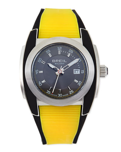 Mediterraneo Rubber-Strap Watch, Yellow