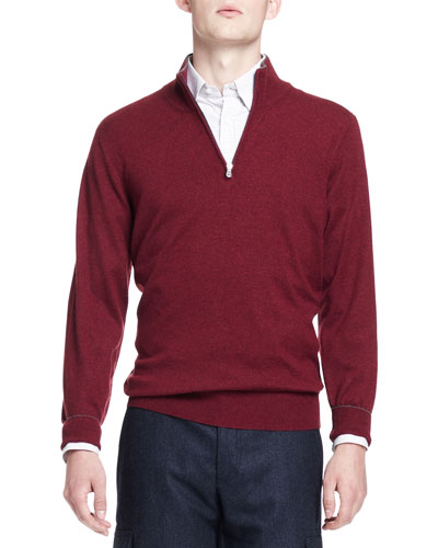 2-Ply Cashmere Half-Zip Pullover, Wine