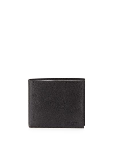 Ponyhair-Embossed Leather Wallet, Black