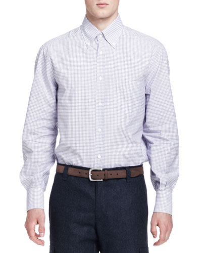 Small-Windowpane Button-Down Shirt, Purple