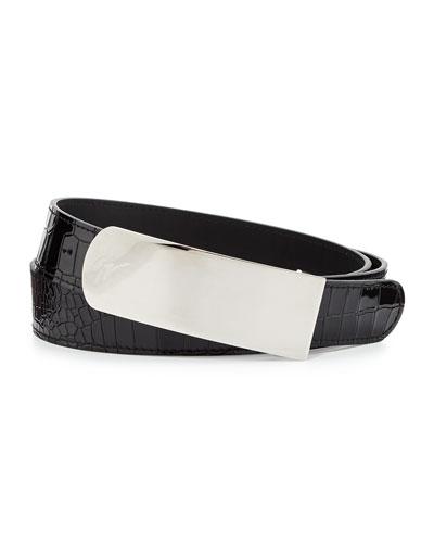 Men's Croc-Embossed Plaque Belt, Black/Silver