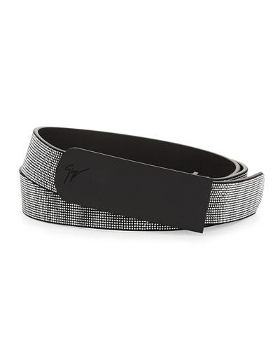 Men's Studded Leather Belt, Black/Silver