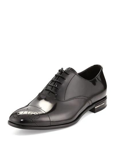 Lace-Up Leather Dress Shoe, Black
