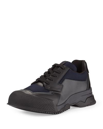 Nylon Runway Trainer Sneaker, Black/Blue