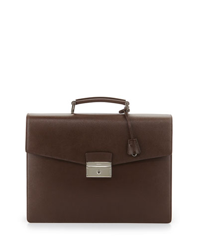 Saffiano Double-Gusset Briefcase, Brown