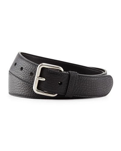 Dino Pebbled Leather Silver Buckle Belt, Black (Nero)
